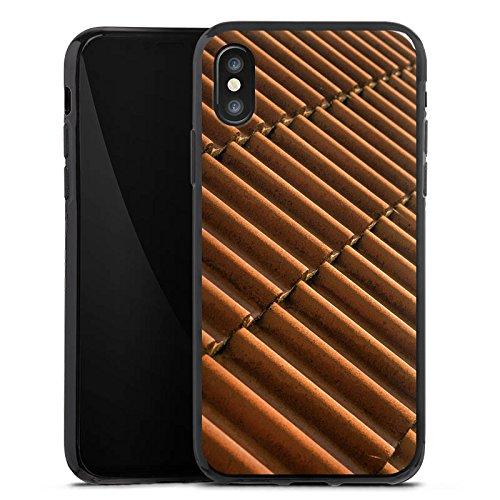 Apple iPhone X Silikon Hülle Case Schutzhülle Dachziegel Ziegel Look Muster Silikon Case schwarz