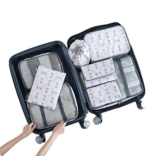Albeey 8 Stück Kleidertaschen Set Kofferorganizer Packtaschen Rucksack Grau