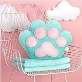 pillow Oreiller de griffe de chat mignon avec fonction de couette Combo de couverture de couchage au bureau à midi oreiller de taille corail voiture oreiller en molleton ( Color : Mint Green )