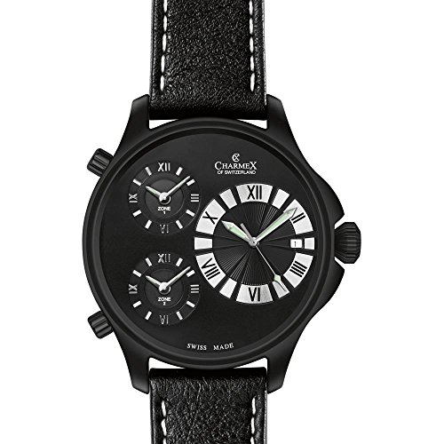 CHARMEX COSMOPOLITAN II 2605 GENTS BLACK CALFSKIN 48MM DATE QUARTZ WATCH