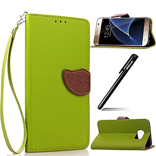 Leder Hülle Grün für Samsung Galaxy S7,Handyhülle für Samsung Galaxy S7,BtDuck Blume PU Leder Stand Tasche Wallet Cover Etui Silikon Schutzhülle Briefcase Lederhülle Stand Tasche für Samsung Galaxy S7