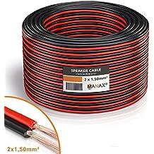 MANAX® cable del altavoz 2 x 1,50 mm² 100 m rojo/negro bobina