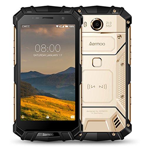 Cellulari in Offerta, AERMOO M1 Dual SIM 4G Smartphone IP68 Impermeabile, 7.0 Android Telefoni Impermeabili 5.2''FHD Helio P25 Octa-core 6GB RAM+64GB ROM, 8.0MP+21.0MP, 5580mAh, Impronta Digitale-Oro