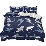 Stillshine Bettwäsche für Kinder 135x200 Junge Kindertagesgeschenk Cartoon Haifisch Multicolor Bettbezug Haben Reißverschluss Anti-Feuchtigkeit, Anti-Milbe, glatt und bequem