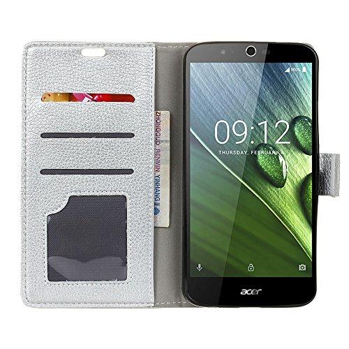 COVO® PU+TPU Kunstleder Brieftasche Hülle für Acer Liquid Zest Plus mit Stand Funktion(Silber)