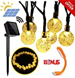 SPECIAL OFFER Premium Solar String Lights, Waterproof outdoor Globe Lights, 20ft 30 LED Fairy Crystal Ball Lighting for Christmas Trees, Garden, Patio, Wedding, Party Holiday Decorations, Warm white