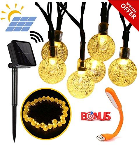 Primium Solar String Lights, Wasserdichte Outdoor Kugel-, 20ft 30 LED Fairy Crystal Ball Beleuchtung für Weihnachtsbäume, Garten, Terrasse, Hochzeit, Party und Urlaub Dekorationen, warm-weiss