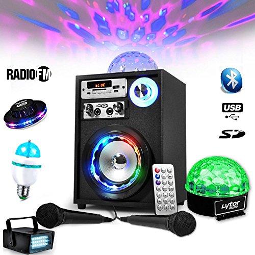 Lautsprecher Mobile Akku Karaoke koolmagic 60W USB/BT/FM-Ball LED + 2MIKROFONE + Pack Lichter Diams -