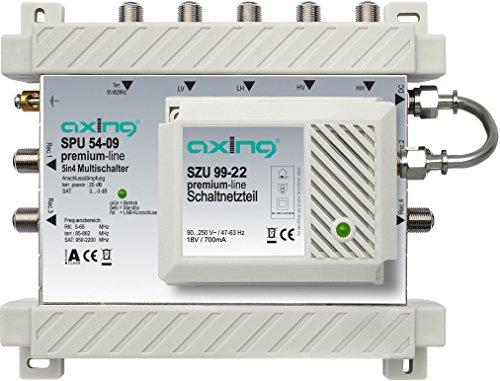 Axing SPU 54-09 SAT-Multischalter 4 Teilnehmer Premium-Line aktiv Quad-tauglich energiesparend (5 x 4)