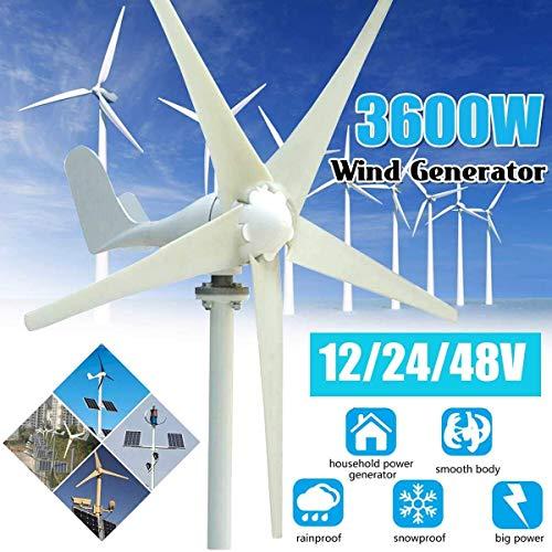 XDDWD Generatore Eolico Domestico a 5 Pale con generatore Eolico Permanente 3600W 12/24 / 48V CA con regolatore per Illuminazione Stradale Solare,12V
