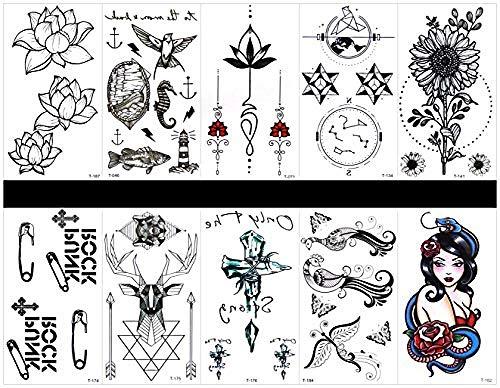 10Pcs Tattoo Pfau Tattoos Wasserdicht Und Ungiftig Echte Fake Tattoos In 1 Packungen Inklusive Totem Sonnenblume Büroklammer Hirsch Kreuz Pfau Frauen Lotus Seepferdchen Fisch Blume Schmuck Etc Tan Hirsch