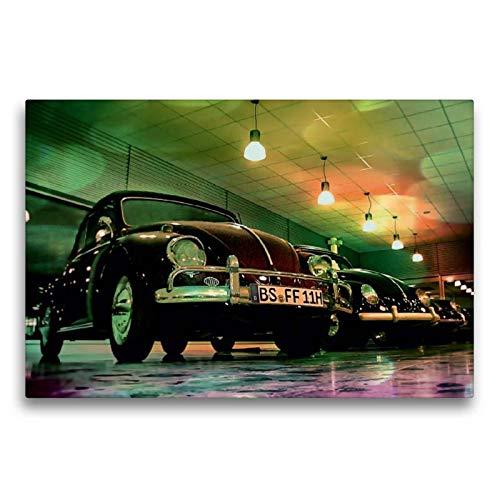 Calvendo Premium Textil-Leinwand 75 cm x 50 cm quer, Oldtimer aus Deutschland | Wandbild, Bild auf Keilrahmen, Fertigbild auf echter Leinwand, Leinwanddruck: VW Käfer Mobilitaet Mobilitaet