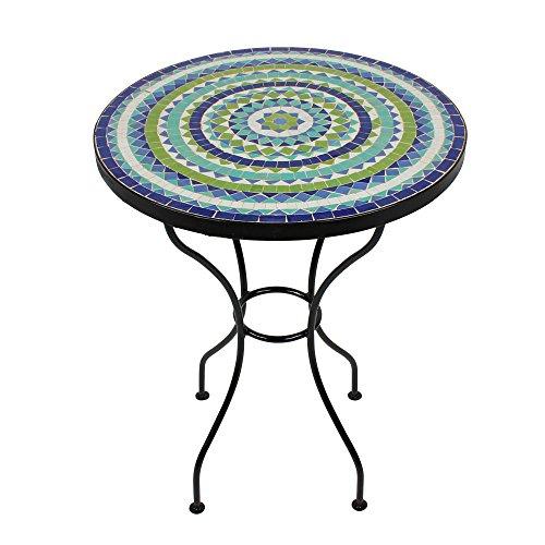 albena Marokko Galerie Marokkanischer Mosaiktisch 60cm rund Gartentisch Bistrotisch Terrassentisch Fliesentisch Mediterraner Tisch (Hiawa blau/türkis/Weiss/grün)