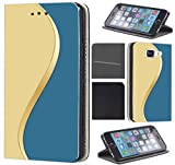 Samsung Galaxy S6 G920 Hülle von CoverHeld Premium Flipcover Schutzhülle S6 G920 aus Kunstleder Flip Case Motiv (713 Abstact Blau Gelb Gold)