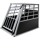 Jalano Hundetransportbox XL Auto Gitterbox große Hunde Alu Hundebox Kofferraum, Farbe:schwarz