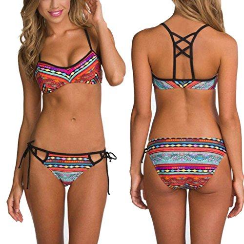 uBabamama Damen Bikini-Set mehrfarbig mehrfarbig L - Bandeau Halter Swimdress
