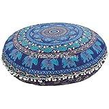 "Cojín de suelo grande redonda, Mandala elefante Tire fundas de almohada de 32 "", decorativo indio Puf, Boho otomana, Pompón Almohada Shams, Roundie Boho amortiguador de la cubierta al aire libre"
