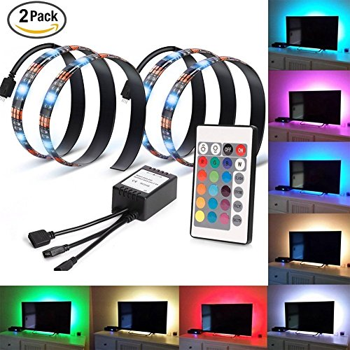 LEDNut Neon Accent LED Strips Bias Backlight RGB luces con control remoto para HDTV, TV de pantalla plana Accesorios y PC de escritorio, multi color