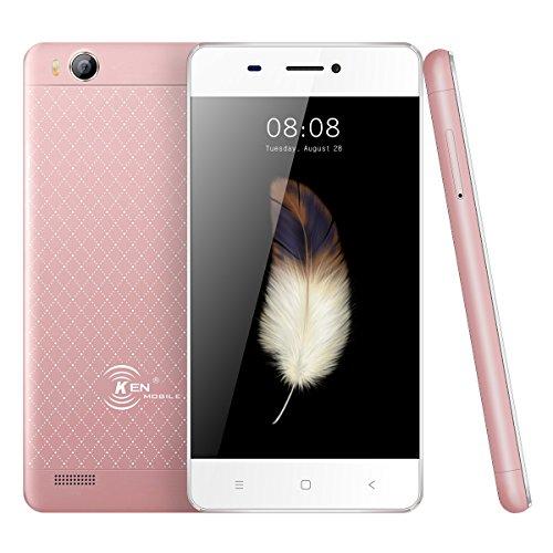 Smartphone Pas Cher,Ken V5 Telephone Portable Debloqué 3G Android 6.0 4.0 Pouces-1500mah Capacité- Quad Core 1 Go 8 Go Rom Double SIM WiFi GPS Bluetooth (Rose)
