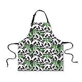 ZXXWQ Panda Schürze Bib Einstellen Gurte Cafe Bar Küchenchef Unisex Einheitliche Friseur Maler Berufsbekleidung Koch Schürze Schürze