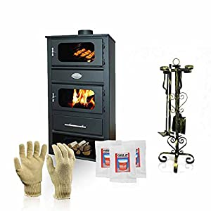 Estufa de leña con horno Zvezda, modelo MF VR 9, potencia de calor 14 kW + accesorios de regalo
