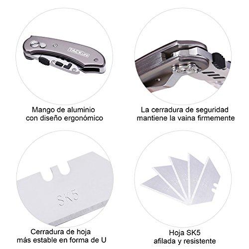 Tacklife UKH01 Cúter con 5 Cuchillas Extra Reemplazables Mango de Aluminio Ligero y Botón de Liberación Fácil