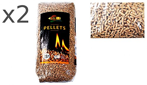 HIT HOLZ 2x15kg Holz-Pellets 6mm ENplus A1DIN Sackware Brennstoff Pelletofen Ofen Heizung