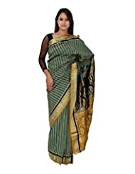 A1 Fashion Women Silk Green Saree With Blouse Piece