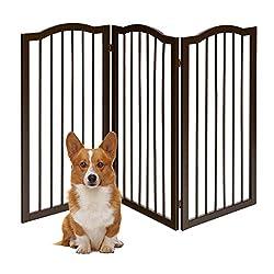 COSTWAY Absperrgitter Hunde, Schutzgitter Kieferholz, Kindergitter flexibel, Treppengitter Hundeabsperrgitter Türschutzgitter (153 x 93 x 2 cm / 3 Stücke)