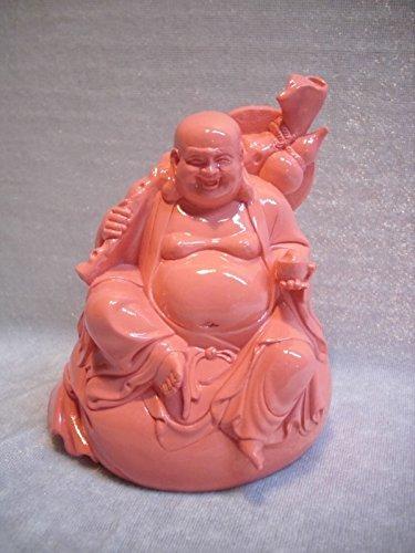 Buddha Lachs rosa 11,5 cm sitzend Glücksbuddha mit Schale Asien Deko GIT 314 d