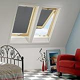 KINLO Sonnenschutzrollo Verlux 60x115cm Grau Verdunklungsrollo elegant kein Kleben einfache Montag Fensterrollo aus Polyster Sichtschutz für Dachfenster geeignet für Autofenster Faltrollo 2 Jahren Garantie