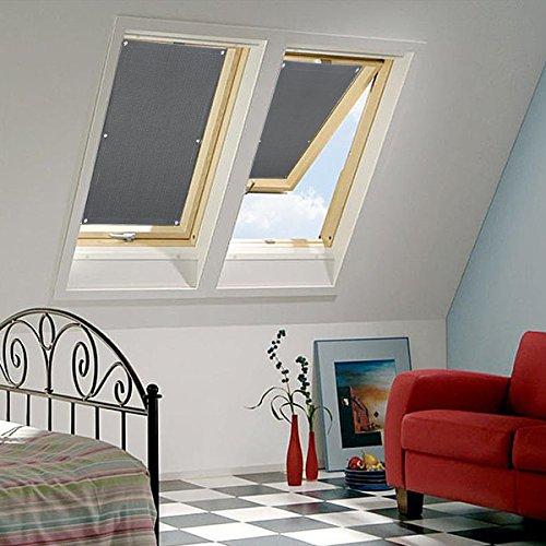KINLO Sonnenschutzrollo Verlux 38x75cm Dunkelgrau Verdunklungsrollo elegant kein Kleben einfache Montag Fensterrollo aus Polyster Sichtschutz für Dachfenster geeignet für Autofenster Faltrollo