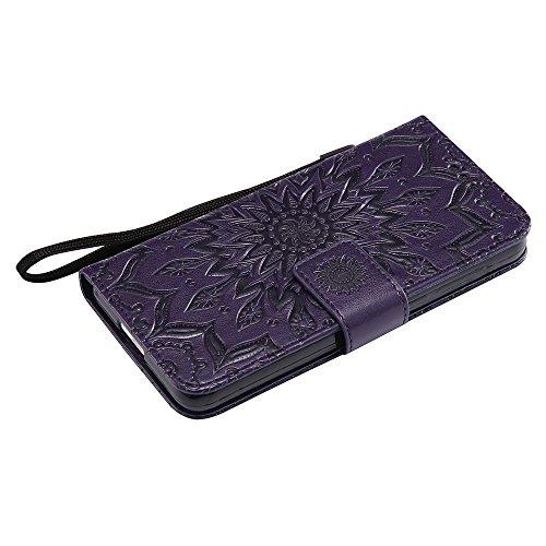 Für Huawei Hornor 6 Fall, Prägen Sonnenblume Magnetisches Muster Premium Weiche PU Leder Brieftasche Stand Case Cover mit Lanyard & Halter & Card Slots ( Color : Rose Gold ) Purple