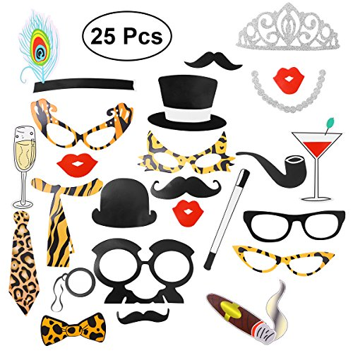 hzeit Photo Booth Props Kit Fliege Leopard Design Photobooth Kits Dress Up Dekoration Party Lieferant ()