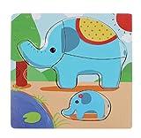 Ularma Rompecabezas de madera bebé desarrollo educativo entrenamiento juguete (Elefante)