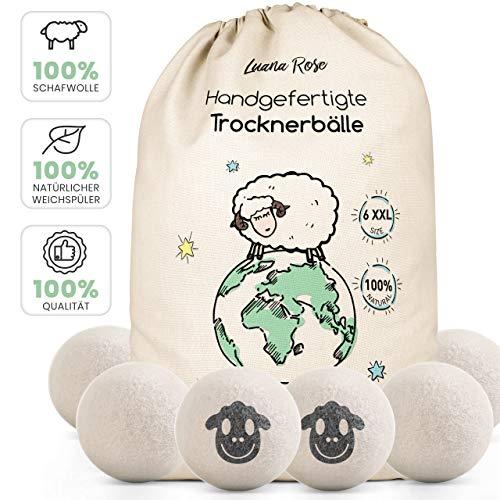 Trocknerbälle für Wäschetrockner - Der Natürliche Weichspüler aus 100% Schafwolle - [6x] - Tennisbälle Trockner Daunen