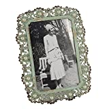 NIKKY HOME Vintage Metall Bilderrahmen mit Perlen + Strass 10 x 15 cm / 4 x 6 Zoll