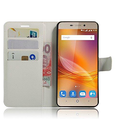 SMTR ZTE blade A452 Wallet Tasche Hülle - Ledertasche im Bookstyle in Weiß - [Ultra Slim][Card Slot][Handyhülle] Flip Wallet Case Etui für ZTE blade A452