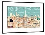 artboxONE Poster mit Rahmen Schwarz (Metallic) 45x30 cm Düsseldorf - Ich Liebe Dich von Claudia Schön