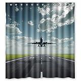Beliebtes Flugzeug Landung unter blau Himmel und Weiß Wolken Wasserdicht Badezimmer Duschvorhang 100% Polyester Stoff, Badezimmer Decor, Textil, multi, 66 x 72
