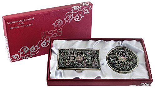 2x Spiegel Lupe (Mother of Pearl Arabesque (2) Design Lupe Double Compact Make-up Spiegel Business Kreditkarte ID Name Card Halter Set Edelstahl Gravur Slim Geld Fall)