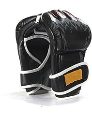 Gants Demi-Doigts Mitaines pour Sport Combat Boxe MMA Takewondo Bleu Noir Rouge
