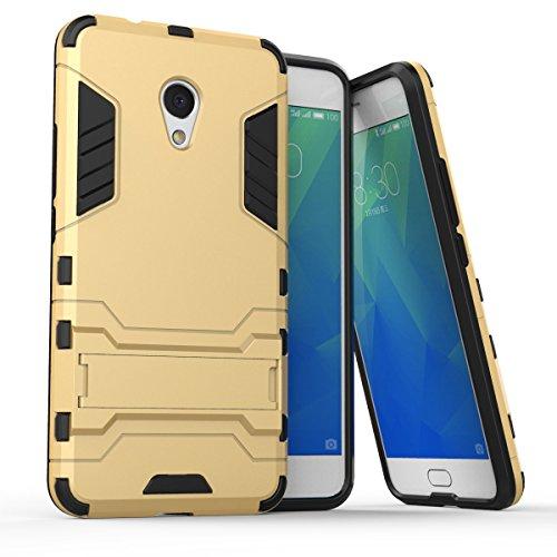 """SsHhUu Custodia Meizu M5s Stoßsichere Dual Layer Hybrid Tasche Schutzhülle mit Ständer für Meizu M5s (5.2"""") Oro"""