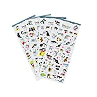 Happy Cat Stickers 4 Sheets with Kinds of Kitty Faces Stickers - Foam Cat Decals for Scarpbooking Crafts Kids - 180 Stickers