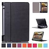 Lenovo Yoga Tab 3 8 Pouces Housse ,Etui à rabat Housse de Protection Coque en Cuir pour Lenobo Yoga Tab 3 8.0 Pouces Étui Smart Cover Case avec Stand de Support -Noir
