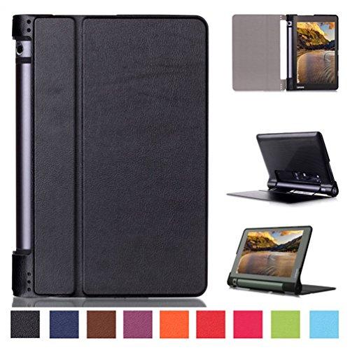 Hülle für Lenovo Yoga Tab3 8 - Ultra Dünn Flip Cover Leder Case Schutz Hülle Tasche + Back Case für Lenovo Yoga Tablet 3-8 20,3 cm (8 Zoll IPS) 2015 Tablet Schutzhülle Leder Etui (Schwarz)