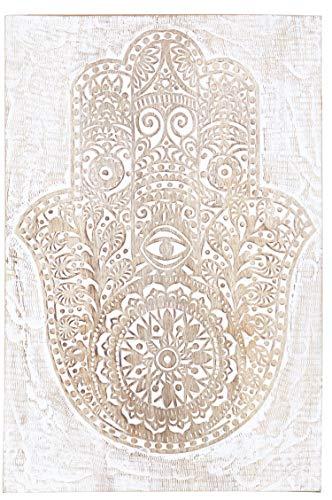 Orientalische Holz Ornament Wanddeko Hand der Fatima 60cm gross XL | Orientalisches Wandbild Wanpannel in Schwarz als Wanddekoration | Vintage Triptychon als Dekoration im Schlafzimmer oder Wohnzimmer