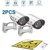 A-ZONE Kamera Attrappe mit blinkende LED Aussenbereich Kameraatrappe Innen /Außen Fake Überwachung Haus Sicherheit Überwachungskamera Silber 2per Pack