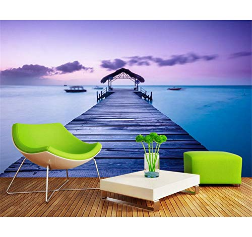 Rureng Benutzerdefinierte Fototapete 3D Stereoskopischen Malediven Ape Brücke 3D Wallpaper Modern Für Wohnzimmer Wandmalereien-250X175Cm