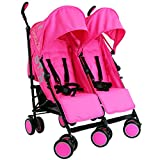 Best Double Strollers - Zeta Citi TWIN Stroller Buggy Pushchair - Raspberry Review